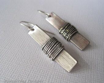 Silver Metalwork Earrings, Sterling Wire Wrapped Earrings, Silver Earrings, Artisan Jewelry