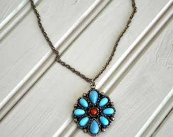 CLEARANCE Boho Hippie Turquoise and Red Pendant Bronze Necklace