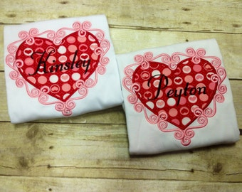 Valentine's Day Heart Shirt/ Girls Heart Shirt/ Girls Valentine Shirt/ Personalized Valentine Shirt/ Girls Valentines Day Shirt