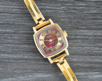 Slava Watch With Gold Plated Case, Soviet Watch, Slava, Slava Watch, Gold Watch, Gold Watch Women, Vintage Watch, Vintage Watch Women