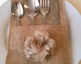 120 Burlap Silverware Holders with burlap Flower, Rustic Wedding