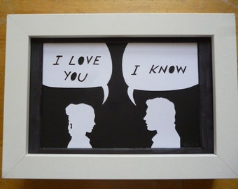 "Star Wars ""I love you"", ""I know"" Han Solo and Leia Papercut"