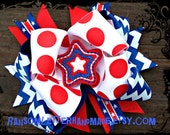Big Red White and Blue Bow USA Bows Patriotic Colors Fourth of July Dress Felt Stars American Flag Hair Bows