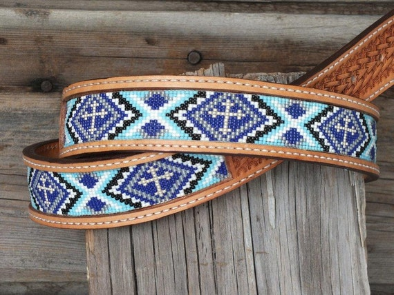 handmade leather beaded belt