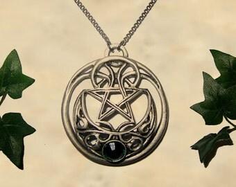Celtic moon pendant jewelry - Handmade medieval necklace with swarovski