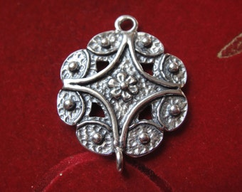 925 Sterling silver oxidized flower connector, silver flower connector, flower connector, flower