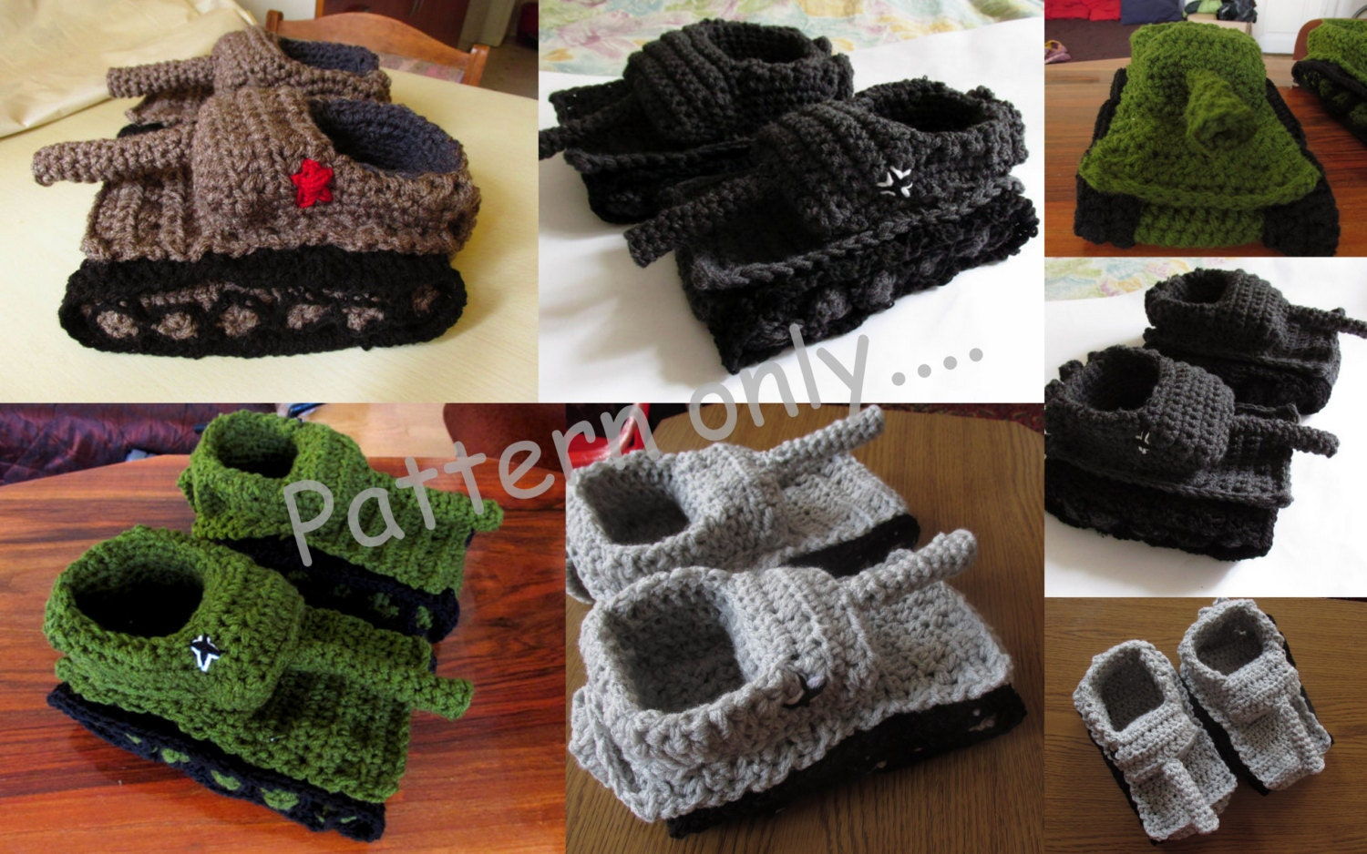 Knitting Pattern For Army Tank Slippers : Tiger 1 Slipper Crochet Pattern Diy Crochet Tank Slippers