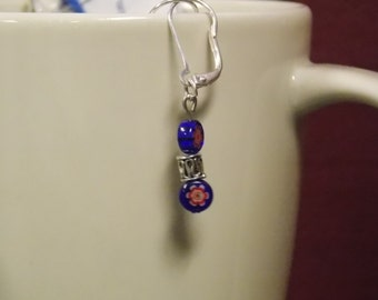 6/37Blue with red flower and silver beaded earrings