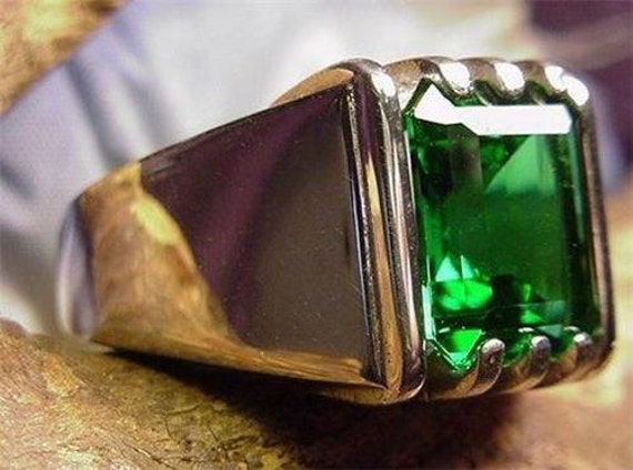 Mens Mt St Helens Helenite 10x8 Emerald Ring By