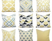 One Yellow and Grey Pillow Cover - Euro Sham - Lumbar Pillow - Yellow and Charcoal Grey Throw Pillow Covers - Grey Pillow - Yellow Pillow