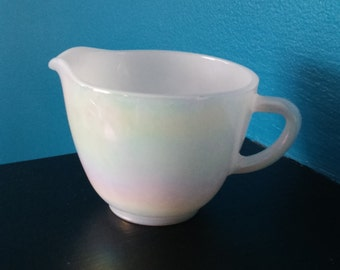 Vintage Federal Glass Company Moon Glow Design Iridescent  Milk Glass Creamer Pitcher