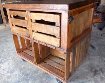 Vintage Industrial Apple Crate Kitchen Island.