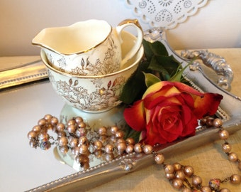 Royal Worcester Palissy Sugar Bowl and British Anchor milk jug in Gold Chintz. Creamer set.