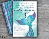 Printable Kids Birthday Invitation, Mermaid Invitation, Kids Birthday Invite, Swim Party Invitation, DIGITAL FILE