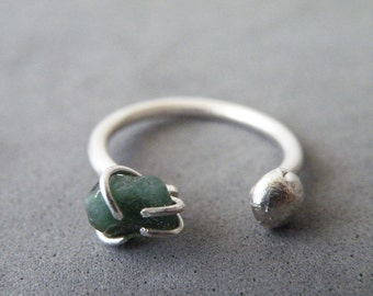 Raw Emerald Adjustable Ring Steling Silver Nugget Ring Dual Gemstone Ring by SteamyLab