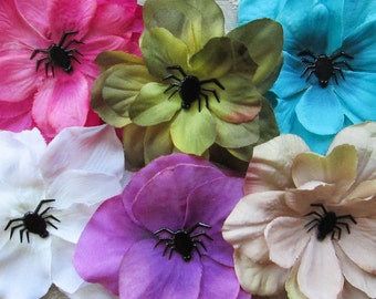 Spider Mini Hair Flower Clips/Pins or Shoe Clips - 6 Colors/Styles!