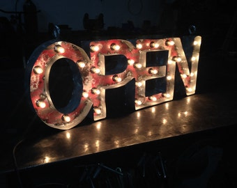 Lighted Open Sign with Candelabra Bulbs