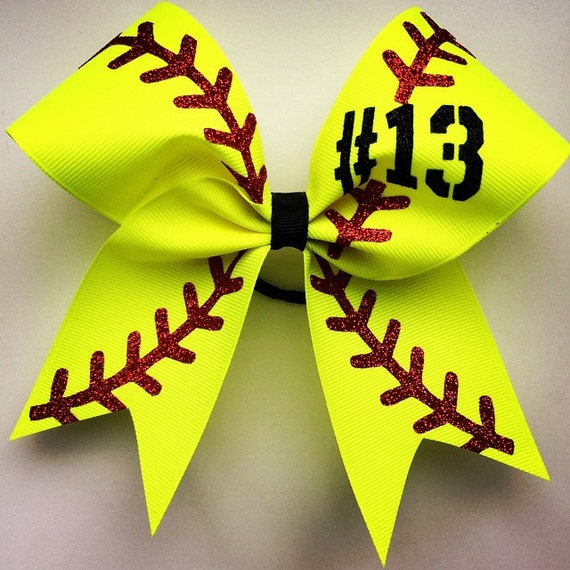 Softball Bow With Your Number Approximately 6by6