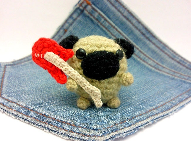 Amigurumi Pug crochet Pug dog with an electric guitar Puppy