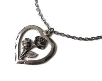 Vintage Christmas Rose Silvertone Heart Pendant Necklace -Italy- in Original Box