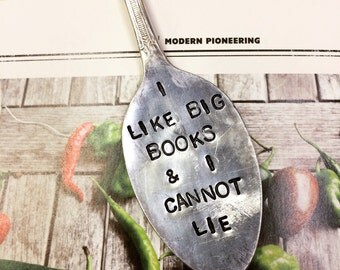 I like big books and I cannot lie-hand stamped vintage spoon bookmark