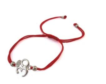 FREE SHIPPING OM bracelet Yoga bracelet Meditation Bracelet Silver bracelet Red String bracelet Enter FREESHIP16 coupon code at checkout