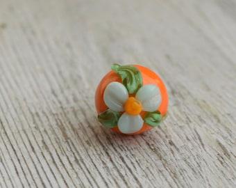Handmade Lampwork Glass Button - 'Tropical Flower' Button - SRA - E89