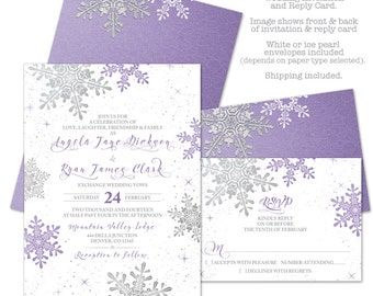 Purple Silver White Snowflake Winter Wedding Invitation and RSVP Reply Card Printed