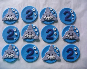 12 Not So Scary SHARKS and Numbers Edible Fondant Cupcake Toppers