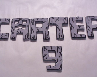 MINECRAFT Font Edible Fondant Letters and Numbers Cake Topper Decorations