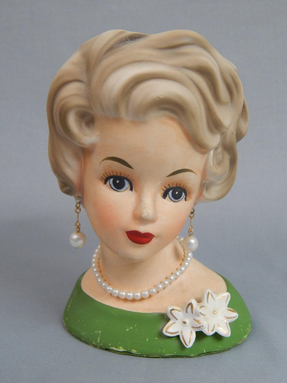Charming Vintage Blonde Lady Head Vase By Ardco Of Japan