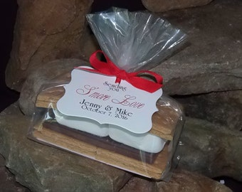 Personalized Smore Wedding Favor Kit, makes 50 personalized s'mores favors