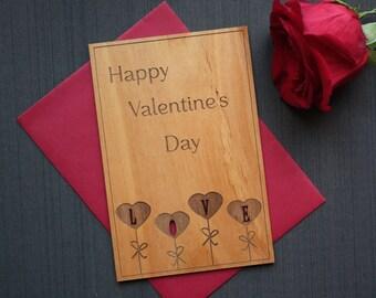Wooden Valentine's Day Card - Happy Valentines Day