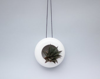 Modern designed hanging ceramic planter/ flower pot/ succulent planter/ handmade pot/ white/ faux leather string