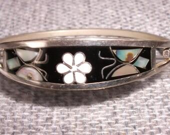 Vintage Mexican Alpaca Bracelet- Mother of Pearl Floral Motif on Black Enamel