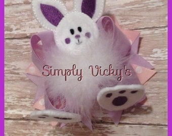 Purple and Pink Easter Bunny Hair Bow