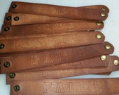 """Custom Personalized Hand Stamped Mens Leather Bracelet, approx 9"""" x 5/8"""" with metal snap"""