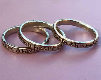 One 3mm stackable Personalized Sterling Rings, 1 Stackable name Rings