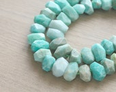 7 pcs of Natural Amazonite Faceted Nugget Gemstone Beads