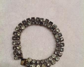Vintage Double Strand Crystal Bracelet Czecho 500 1940's
