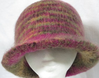 Hat Wool Felted Colorful Mix with Flared Brim