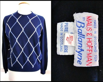 BALLANTYNE Cashmere Sweater / made in Scotland / vintage 70s cashmere sweater / Maus and Hoffman Palm Beach / fits M