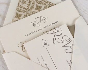 Elegant Script Wedding Invitation  Suite // Timeless Simple Invite // Purchase this Listing for a SAMPLE SET