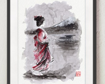 Geisha Painting Japanese Art Watercolor Artwork Japan Style Ink Art