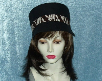 Hat - - Black & Batik Fabric Reversible Hat- Size Medium - #112