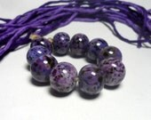 Lampwork. Glass bead handmade. Beads dark purple, pink, purple, amethyst, violet.