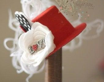 Red mini top hat - mini hat - mini top hat - red fascinator - valentines day hat - red mini hat - red hat - kids fascinator - girls headband