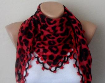 black leopard scarf  flower red  cotton turkish yemeni oya handmade