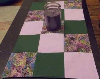 Table runner patchwork  approx 15 x 24 Violet, green and swirl reversible.
