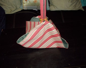 Pie and Cake carrier.  Pink and Green stripes with green lining